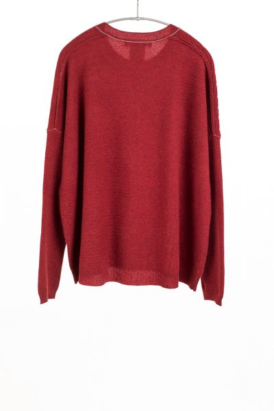 Paychi Guh | Textured Crew, Red Pepper, 100% Cashmere