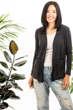 Paychi Guh | Open Back Cardigan, Charcoal, 100% Worsted Mongolian Cashmere