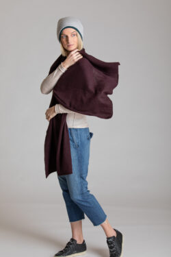 Paychi Guh | Textured Scarf, Currant, 100% Cashmere