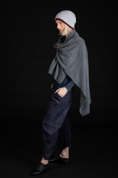 Paychi Guh | Textured Scarf, Thunder, 100% Cashmere
