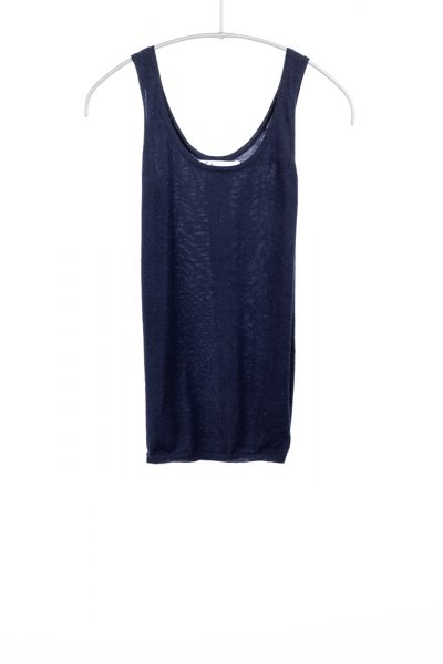 Paychi Guh | Tank, Navy, 100% Worsted Mongolian Cashmere