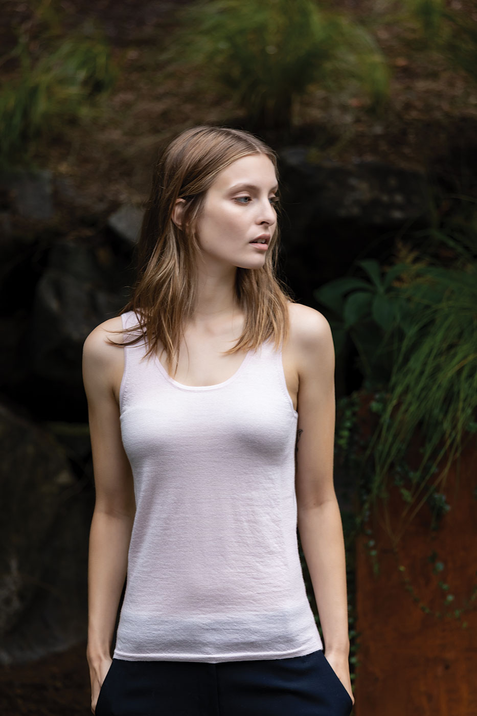 Paychi Guh | Tank, Orchid Ice, 100% Worsted Mongolian Cashmere