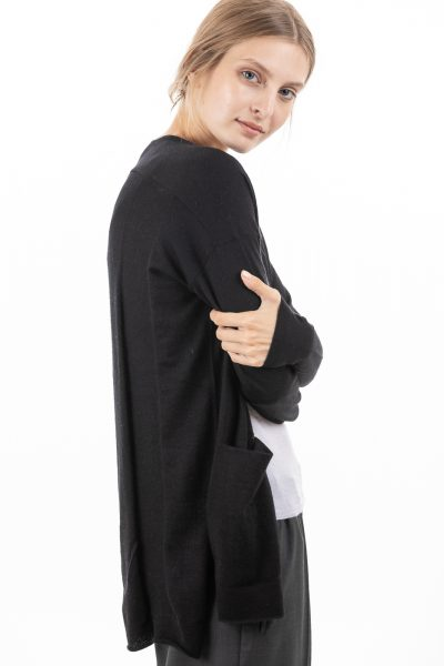 Paychi Guh | Slim Cardigan, Black, 100% Worsted Mongolian Cashmere
