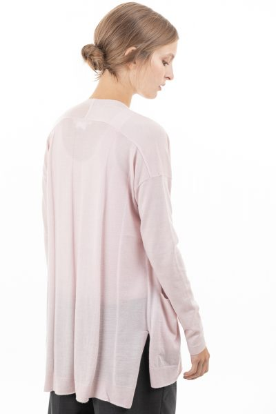 Paychi Guh | Slim Cardigan, Orchid Ice, 100% Worsted Mongolian Cashmere