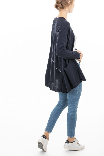 Paychi Guh | Airy Swing Cardigan, Heather Navy, 100% Airy Cashmere