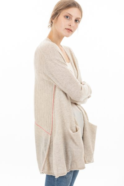 Paychi Guh | Airy Swing Cardigan, Oatmeal, 100% Airy Cashmere