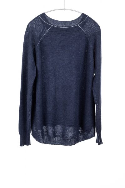 Paychi Guh | Airy Textured Crew, Heather Navy, 100% Airy Cashmere
