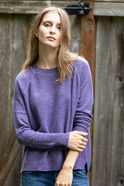 Paychi Guh | Airy Textured Crew, Heather Purple, 100% Airy Cashmere
