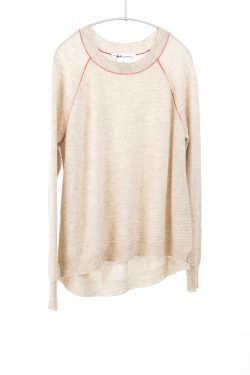 Paychi Guh | Airy Textured Crew, Oatmeal, 100% Airy Cashmere