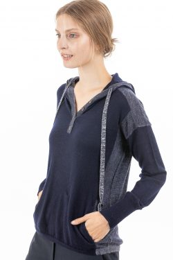 Paychi Guh | Hoodie, Navy/Ivory, 100% Superfine Worsted Mongolian Cashmere
