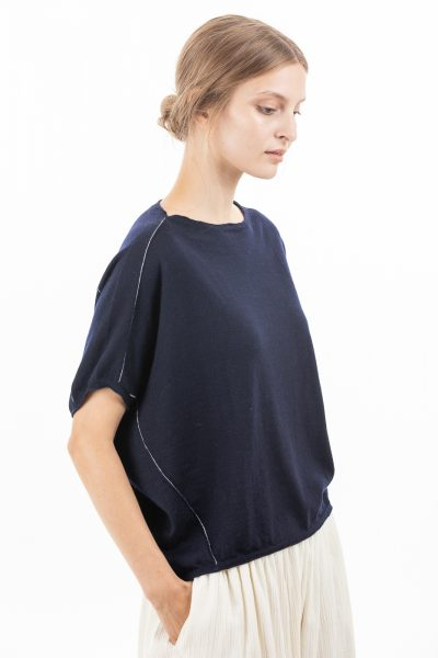 Paychi Guh | Popover, Navy, 100% Worsted Mongolian Cashmere