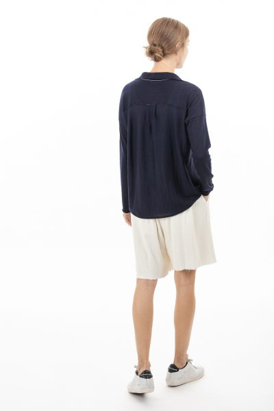 Paychi Guh | Shirt, Navy, 100% Superfine Worsted Mongolian Cashmere