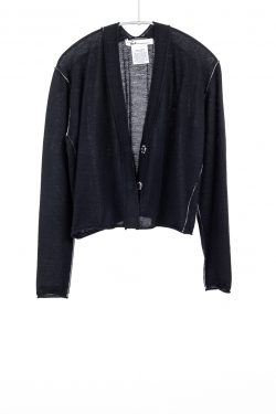 Paychi Guh | Cropped Cardigan, Black, 100% Worsted Mongolian Cashmere