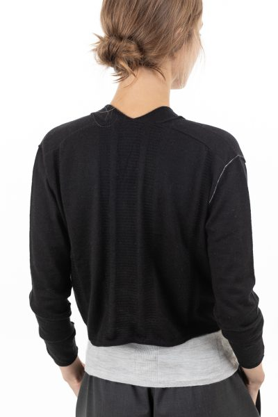 Paychi Guh | Cropped Cardigan, Black, 100% Worsted Mongolian Cashmere