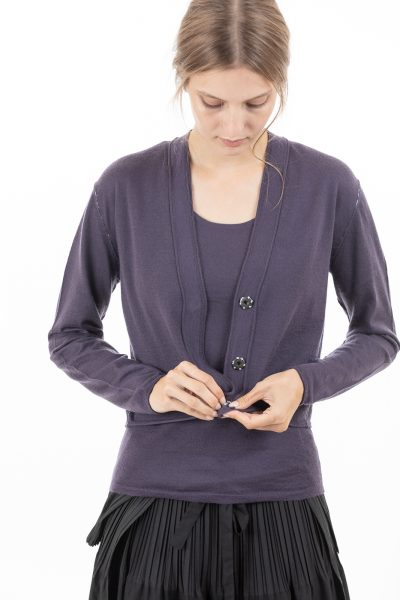 Paychi Guh | Cropped Cardigan, Blueberry, 100% Worsted Mongolian Cashmere