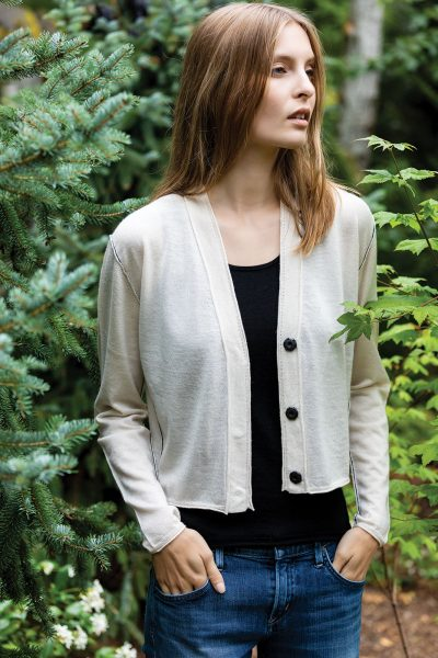 Paychi Guh | Cropped Cardigan, Cheesecake, 100% Worsted Mongolian Cashmere