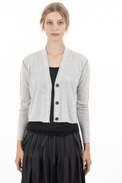 Paychi Guh | Cropped Cardigan, Dove Grey, 100% Worsted Mongolian Cashmere