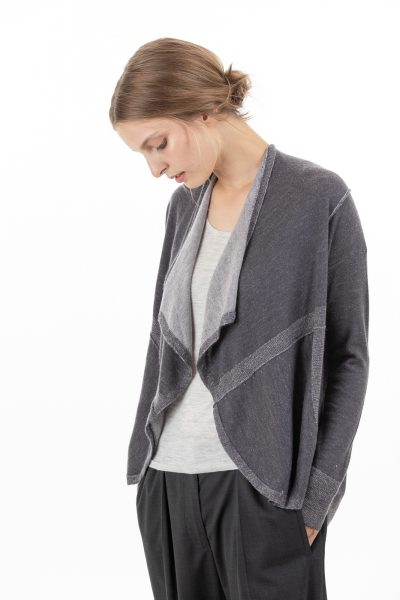 Paychi Guh | Drape Front Cardigan, Gunmetal/Orchid Ice, 100% Superfine Worsted Mongolian Cashmere