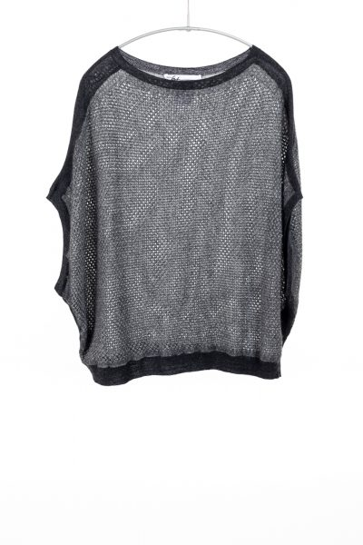 Paychi Guh | Two Tone Bateau, Charcoal/Dove Grey, 100% Worsted Mongolian Cashmere
