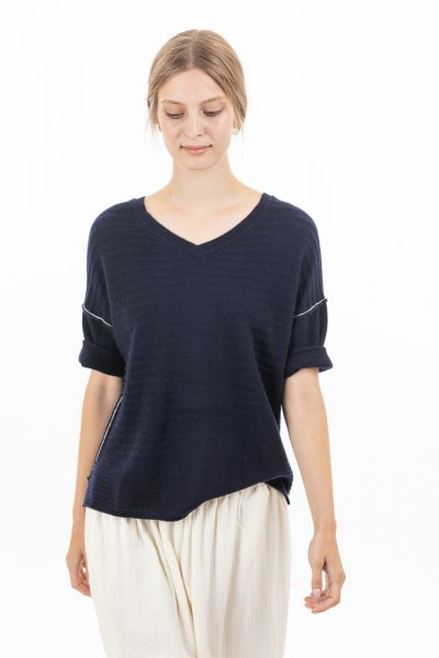 Paychi Guh | Airy V-Neck Pullover, Navy, 100% Airy Cashmere