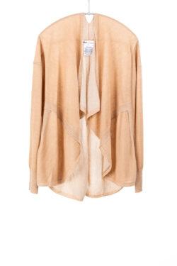 Paychi Guh | Drape Front Cardigan, Camel/Ivory, 100% Superfine Worsted Mongolian Cashmere