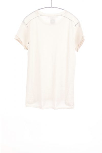Paychi Guh | Baby Tee, Ivory, 100% Worsted Mongolian Cashmere