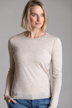 Paychi Guh | L/S Baby Tee, Barley, 100% Worsted Cashmere