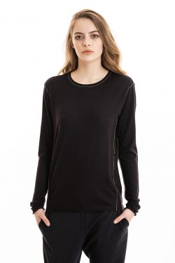 Paychi Guh | L/S Baby Tee, Plum, 100% Worsted Cashmere