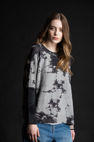 Printed Block Crew, Flannel/Charcoal, 100% Cashmere | Paychi Guh
