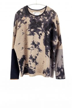 Printed Block Crew, Tan/Navy, 100% Cashmere | Paychi Guh