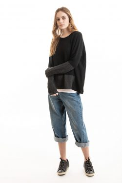 Block Crew, Black/Charcoal, 100% Cashmere | Paychi Guh