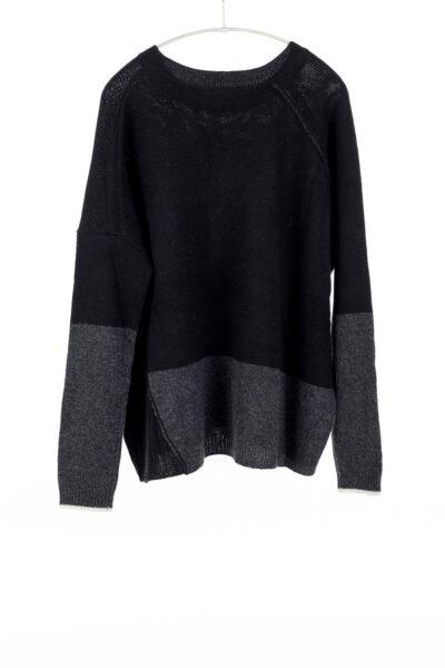 Block Crew, Black/Charcoal, 100% Cashmere | Paychi Guh