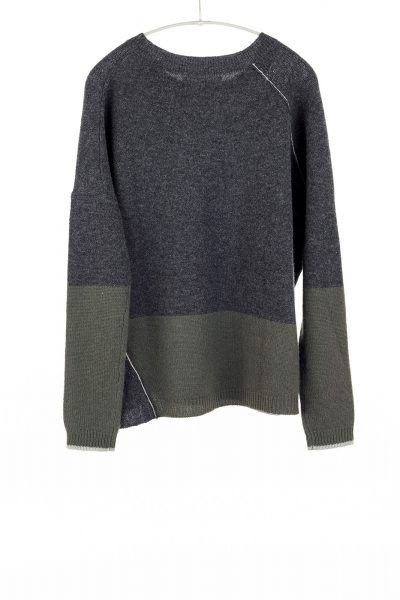 Block Crew, Charcoal/Olive, 100% Cashmere | Paychi Guh