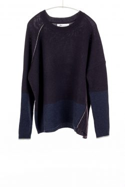 Block Crew, Plum/Heather Navy, 100% Cashmere | Paychi Guh