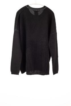 Paychi Guh | Textured Crew, Black, 100% Cashmere