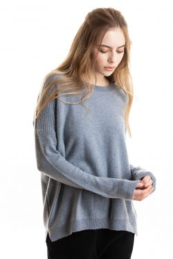 Paychi Guh | Textured Crew, Grey Blue, 100% Cashmere