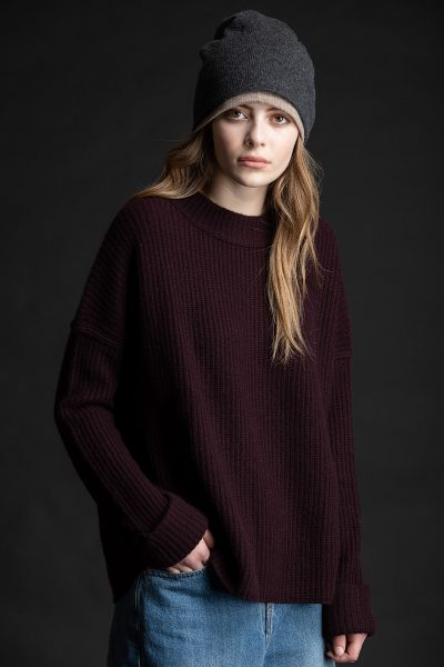 Paychi Guh | Relaxed Pullover, Currant, 100% Cashmere