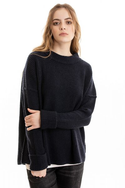Paychi Guh   Relaxed Pullover, Heather Navy, 100% Cashmere