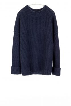 Paychi Guh | Relaxed Pullover, Heather Navy, 100% Cashmere