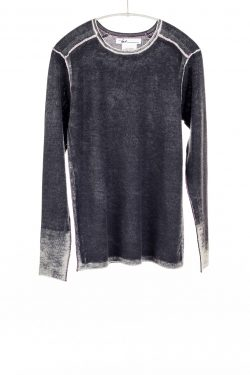 Paychi Guh | Printed L/S Crew, Black, Cashmere/Silk with Push-through Print