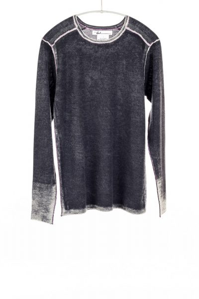 Paychi Guh | Printed L/S Crew, Black, Cashmere/Silk with Push-through Print