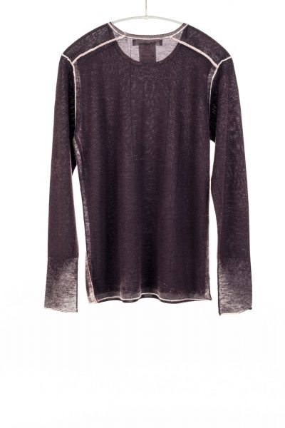 Paychi Guh | Printed L/S Crew, Deep Currant, Cashmere/Silk with Push-through Print