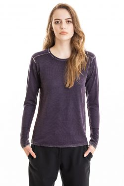 Paychi Guh | Printed L/S Crew, Eggplant, Cashmere/Silk with Push-through Print
