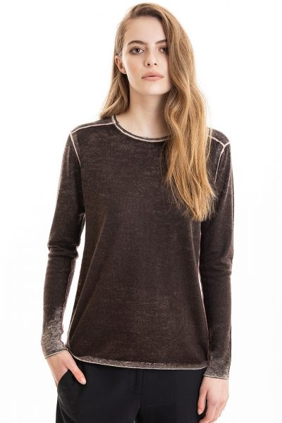 Paychi Guh | Printed L/S Crew, Espresso, Cashmere/Silk with Push-through Print