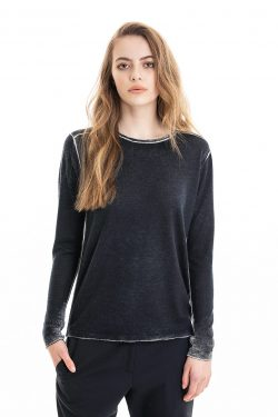 Paychi Guh | Printed L/S Crew, Midnight, Cashmere/Silk with Push-through Print