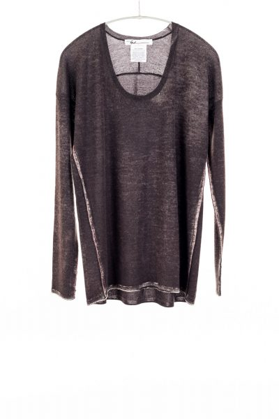 Paychi Guh | Printed Scoop Tee, Espresso, Cashmere/Silk with Push-through Print