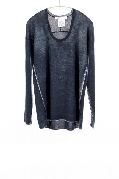 Paychi Guh | Printed Scoop Tee, Midnight, Cashmere/Silk with Push-through Print