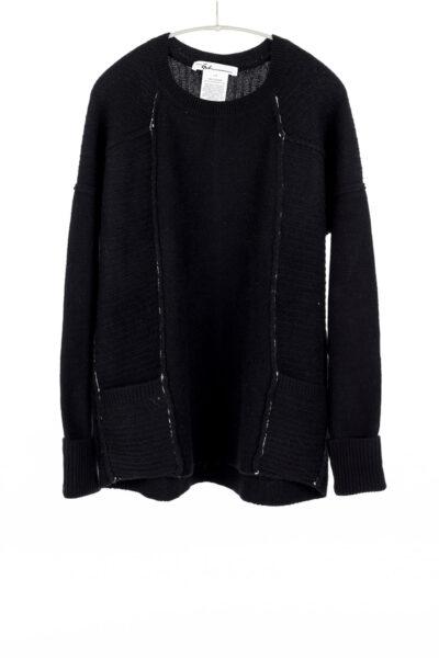 L/S Pocket Crew, Black, 100% Cashmere | Paychi Guh