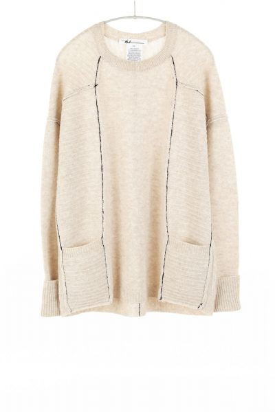 Paychi Guh | L/S Pocket Crew, Oatmeal, 100% Cashmere