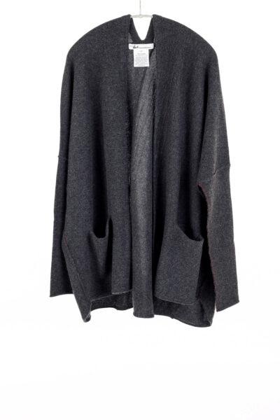 Paychi Guh | Poncho Cardigan, Charcoal, 100% Cashmere